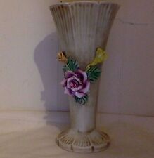 Vintage Capodimonte. Ribbed  Floral Vase. Antique White, Pink, Yellow, Green