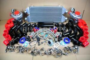 DIY FMIC TWIN T3/T4 TURBOCHARGER KIT 800HP FOR DODGE RT SRT CHEVY CORVETTE BK/RD