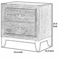 2 Drawers Wooden Frame Nightstand with Grain Details and Bar Pulls, Gray