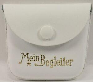 Etui Rosenkranz RINGELE ALFRED Leder Weiß Spruch Gold Mein Begleiter 55x60mm