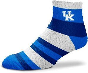 Kentucky Wildcats Blue & White Rainbow Stripe Soft Fuzzy Sleep Socks