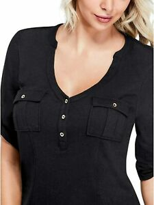 GUESS Womens Black Flap Pocket Blouse Top Size S NWT