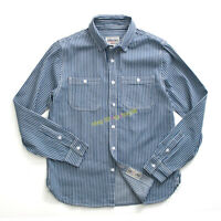American Vintage Casual Railroad Striped Workwear Shirts Men's Multi-pocket Tops