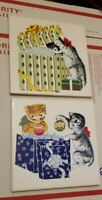 VTG 2 CATS OPENING GIFTS CERAMIC CHRISTMAS KITCHEN TILES TRIVETS