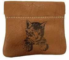 New Leather Engraved Kitten Kitty Cat Squeeze Coin Pouch Change Purse USA Made
