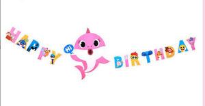 Pink BABY SHARK DooDooDoo Happy Birthday Party large WALL BANNER DECORATION