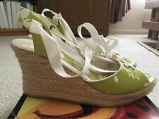 New Floral Lime Green Summer Wedges Size 8.5