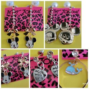 Nwt Betsy Johnson 5 Lot Earrings Mickey Mouse Heart Whales Crystals Pearl Studs