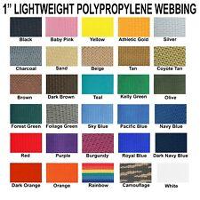 "1 Inch Polypropylene Webbing Light Weight 1"" Strap 5 Yards"