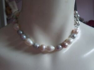 Fab Over Sized Genuine Freshwater Pearl Choker Necklace signed LP and 925