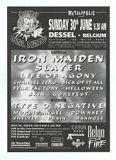 Iron Maiden Handbill Graspop Metal Meeting Dessel Belgium 1996 Jun 20 2 sided