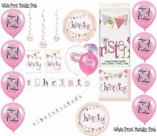 Girl Christening Pink Party Banners Balloons Bunting Napkins Decorations