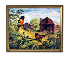 Oriole Birds Wood Barn Country Animal Wall Picture Gold Framed Art Print