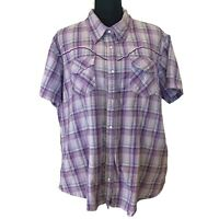 Cumberland Outfitters Women's Purple Plaid Pearl Snap WesternShirt - Size 2X
