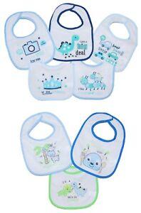 Baby Boy Bibs Feeding Dribble 3 and 5 PACK