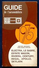 Owner's Manual * Betriebsanleitung 1975 Buick Electra  Riviera  Apollo  (CDN)