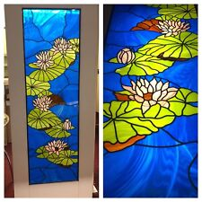 Stained Glass Water Lily Internal Shaker Door (Solid Wood - White Primed)