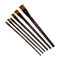 Pack of 6 Art Brown Nylon Paint Brushes for Acrylic D1U6