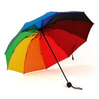 New Korean Style Anti UV Clear Rain Rainbow Folding Windproof Princess Umbrella