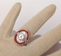 bague imposante argent rhodié poli style joaillerie solitaire diamant T.54