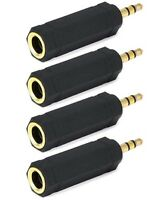 """4x 6.3mm 1/4"""" Female to 3.5mm 1/8"""" Male Stereo Audio Adapter Headphone Gold F/M"""