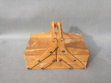 Ancienne boite à couture en bois superposé pliante art populaire vieux métiers