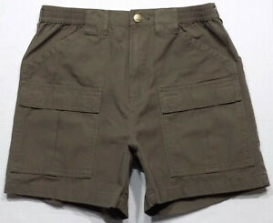 Cabela's Canvas Hiking Trail Field Cargo Shorts Mens Size 32 Brown Inseam 5.5