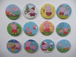 CARTOON PIG LARGE BADGES Childrens birthday party bag filler 4.4cm choose number