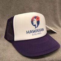 Hawaiian Airlines Trucker Hat Vintage Style Vacation Snapback Cap Purple 2270
