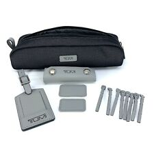 Tumi Reflective Silver Accent Kit Luggage Tag Monogram Patch Accessory Pouch