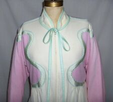 Vintage BILL TICE Ladies velour robe~1970s/1980s~Cream, mint green, Pepto Pink