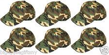 Lot of 6 NEW CAMO Solid Plain Baseball Cap low profile Blank Hats