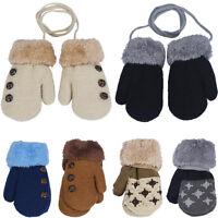 Winter Warm Newborn Baby Boy Girl Kids Thick Fur Gloves Mittens with Neck String