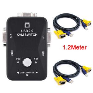KVM-Switch VGA-Kabel USB 2.0 Splitter Box Adapter Sharing Monitor Tastatur MaBOD