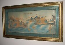 Vintage Japanese Wood Paper Silk 3D Landscape Framed Collage / Shadow Box