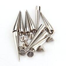 10 Set Silver Screw Bullet Rivet Spike Studs Spots DIY Rock Punk 40X7mm ED