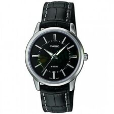 Casio LTP1303L-1A Ladies Black Leather Round Analog Dress Watch Black Dial NEW
