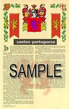 SANTOS Armorial Name History - Coat of Arms - Family Crest GIFT! 11x17