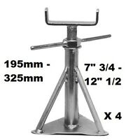"Static Caravan Axle Stands X 4, 195mm - 325mm or 7"" 3/4 x 12"" 1/2 Siting Support"