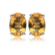 2.5CT CITRINE OVAL STUD EARRINGS IN 18K GOLD OVER 925 SOLID STERLING
