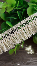 Cream 2.5cm Delicate Trim Tassel Fringe DIY Cotton Lace Price per 30cm Sewing