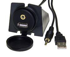 USB Klinke 3,5mm Einbau Buchse Adapter Kabel Anschluss 2in1 Set Verlängerung KFZ