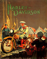 POSTER HARLEY DAVIDSON MOTORCYCLE RIDE IN HOLLAND TRAVEL VINTAGE REPRO FREE S/H