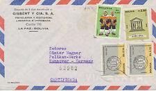 BOLIVIEN 1966 MiF m. u.a. 20 Jahre UNESCO 2.80 B. auf R-Flugpost-Brief HANNOVER