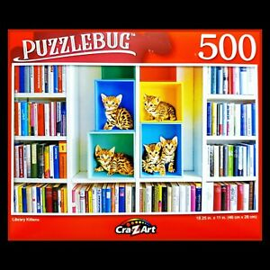 500 Piece Jigsaw Puzzle Puzzlebug 18 x 11, Colorful Library Kittens