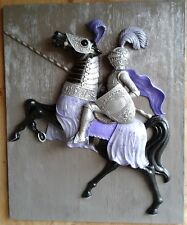 Ornate Medieval Knight/Horse Large Sculpture Custom Painted Wall Hanging