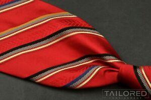 "NWT $105 - ROBERT TALBOTT BOC Red Striped 100% Silk Mens Luxury Tie - 3.75"""