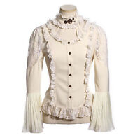 Women's White Lace Up Long Sleeve Shirt Steampunk Victorian Bride Costume Large
