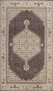 Geometric Oushak Oriental Area Rug Vintage Style Hand-knotted Wool Carpet 6x9 ft