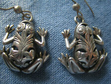 Vtg. Sterling Silver finely detailed frog toad large drop pierced earrings, 7 g